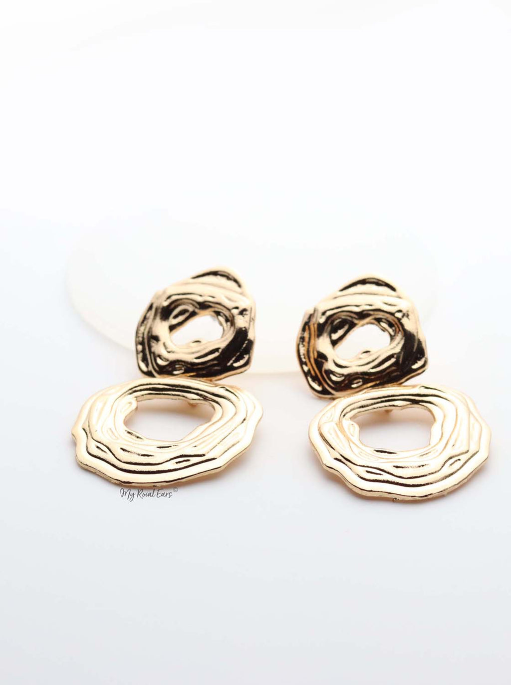 Clio- gold plated lined detailed double hoop drop earrings - My Roial Ears LTD