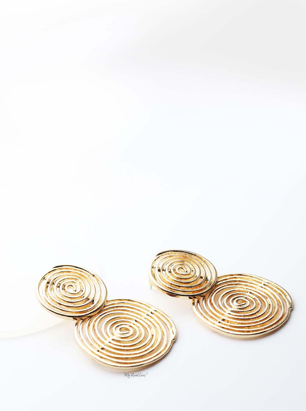 Astraea- gold plated spiral double circle hoop earrings - My Roial Ears LTD