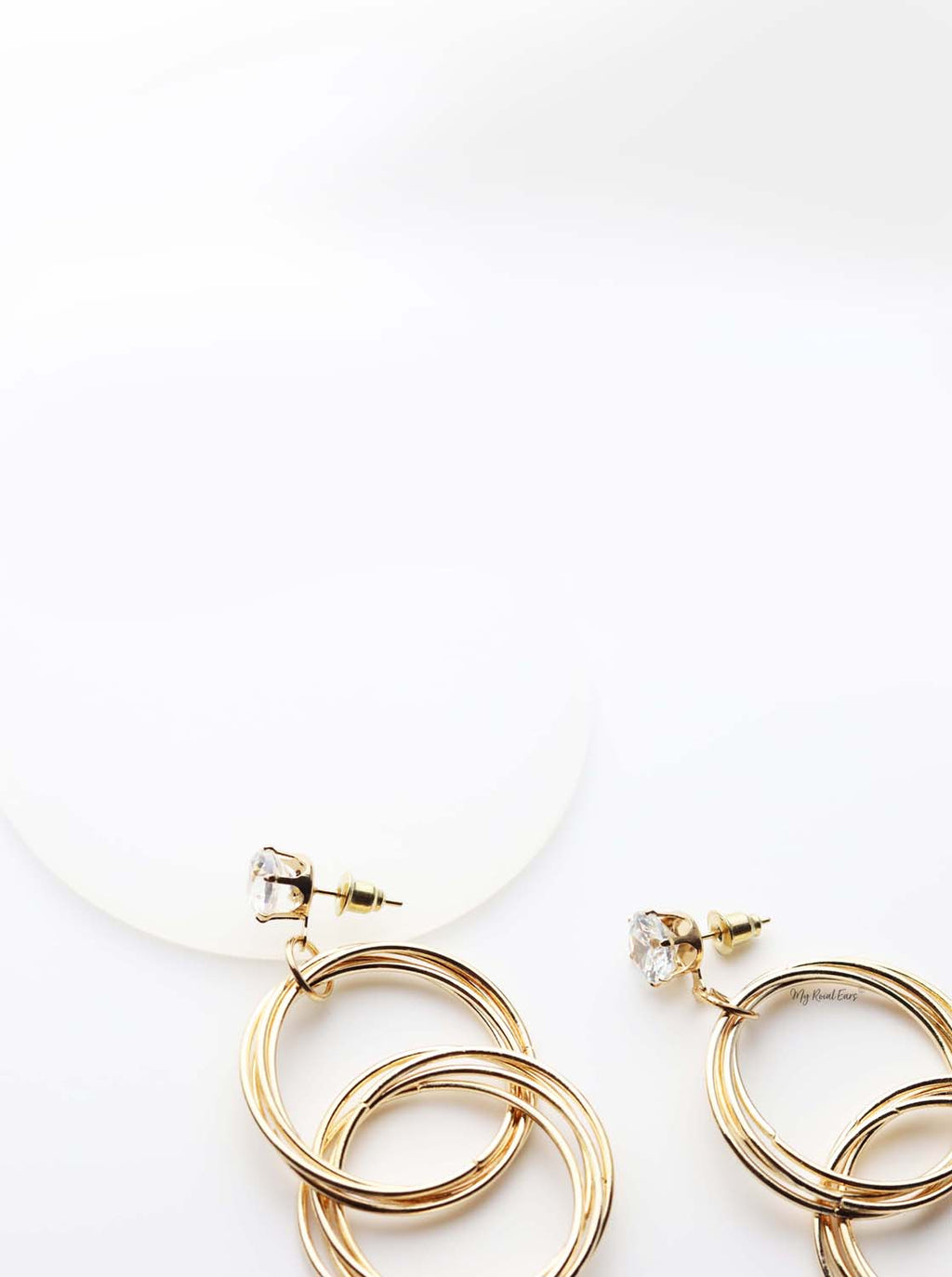 Athena- gold plated crystal double hoop drop earrings - My Roial Ears LTD