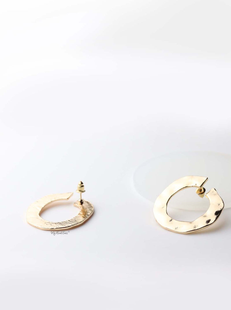 Cassandra- gold plated vintage circle statement stud earrings - My Roial Ears LTD