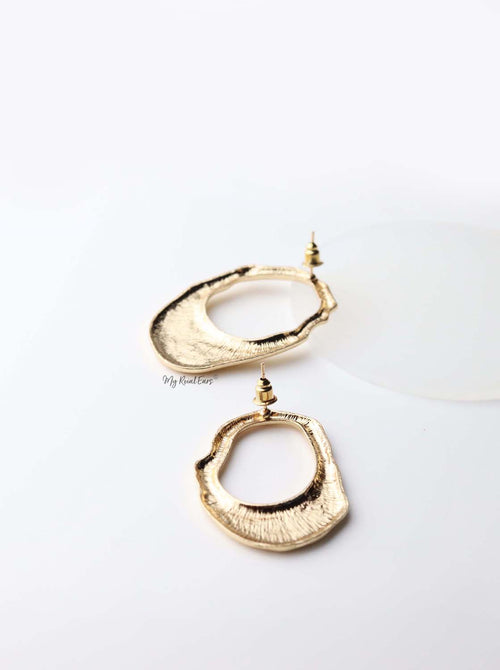 Acantha- gold plated abstract lock statement stud earrings - My Roial Ears LTD