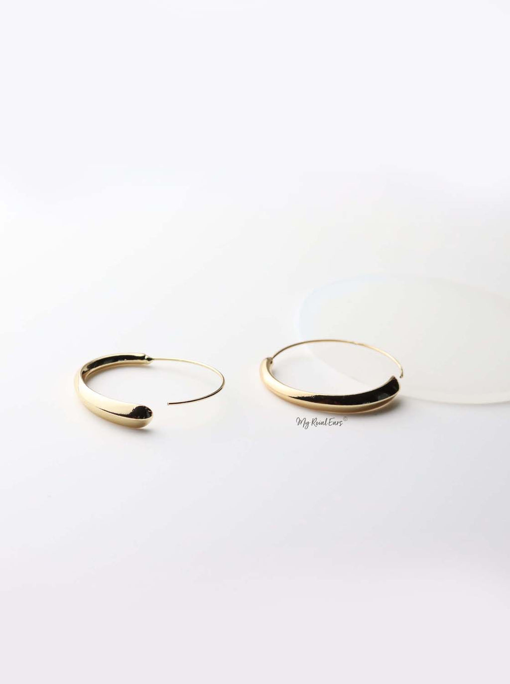 Adrasteia - gold plated thin geometric circle earrings - My Roial Ears LTD