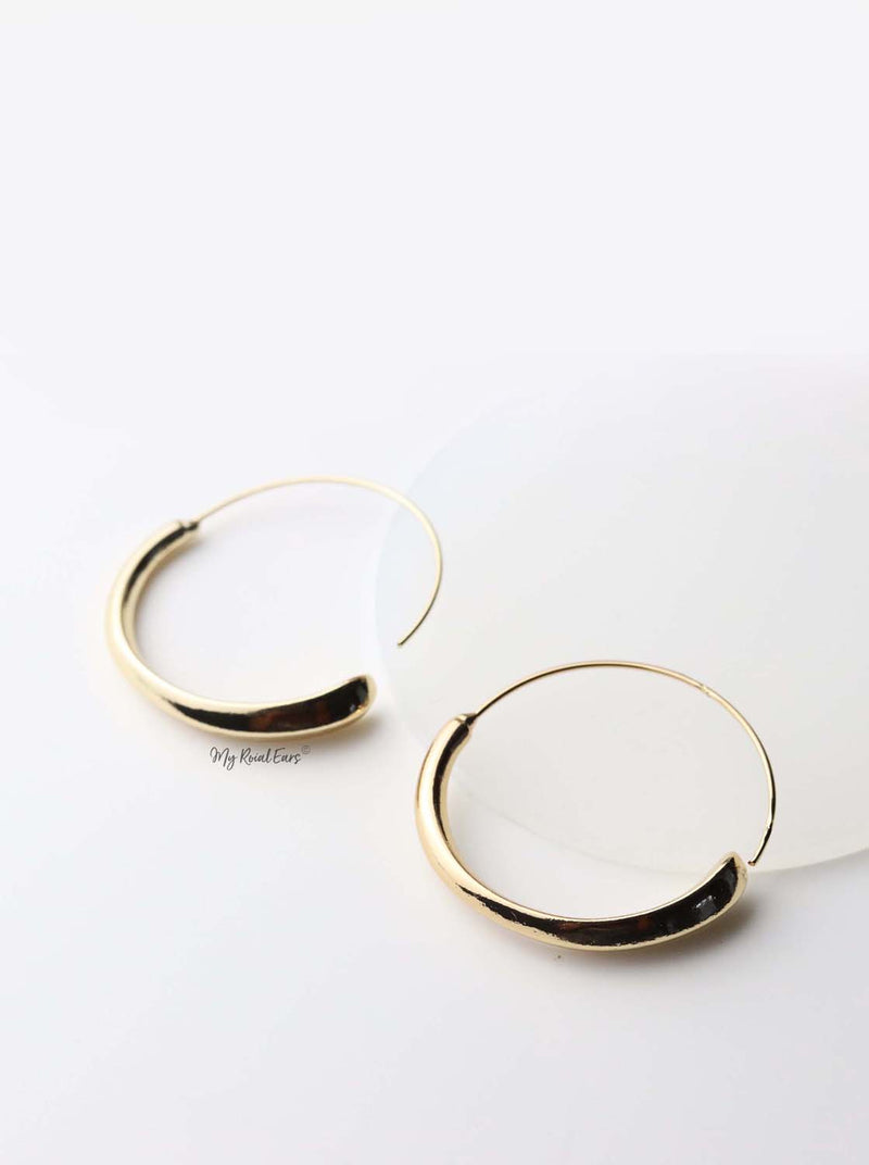 Adrasteia Silver -  thin geometric circle earrings - My Roial Ears LTD