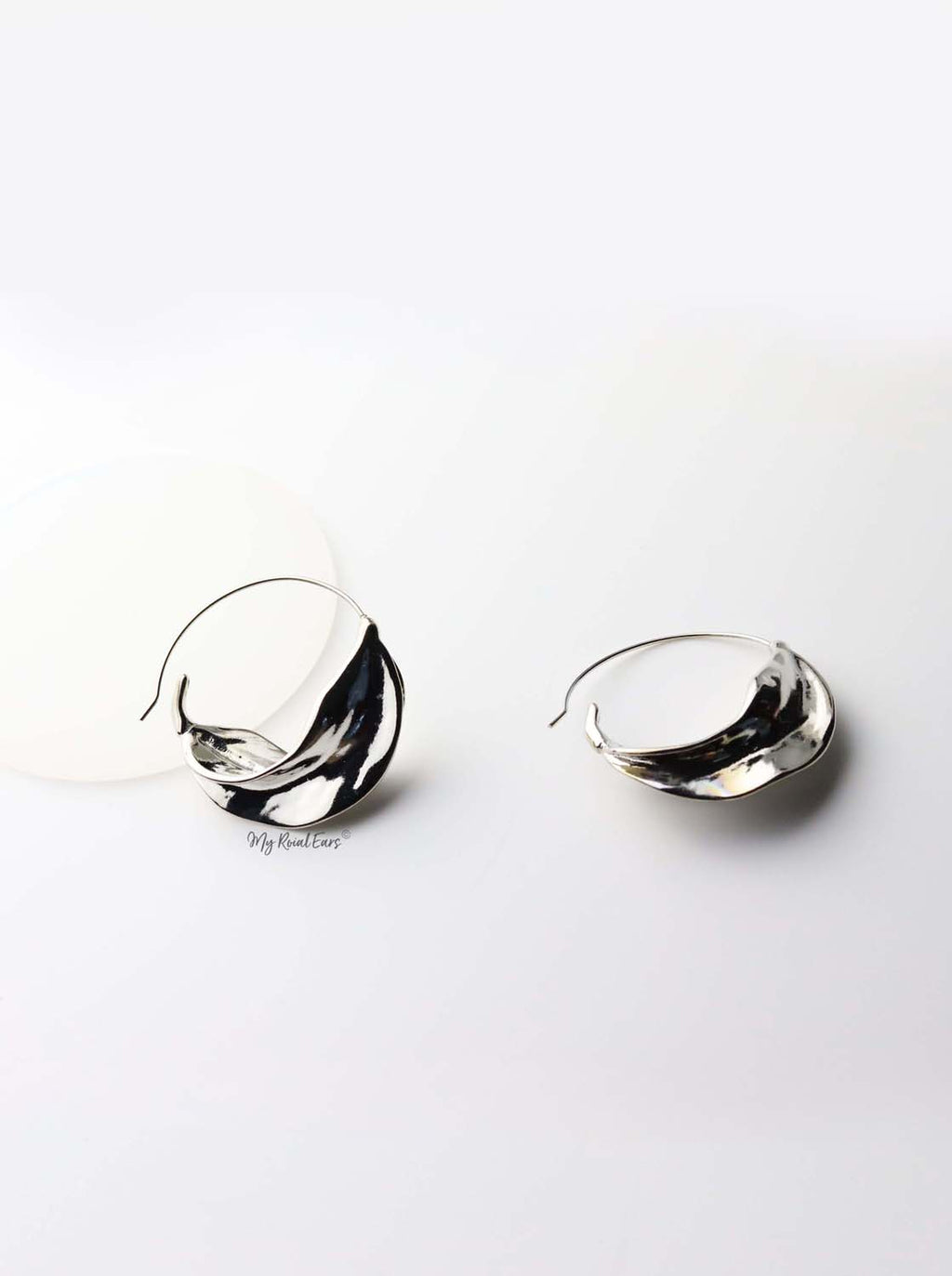 Alcippe Silver- leaf-inspired hoop earrings - My Roial Ears LTD