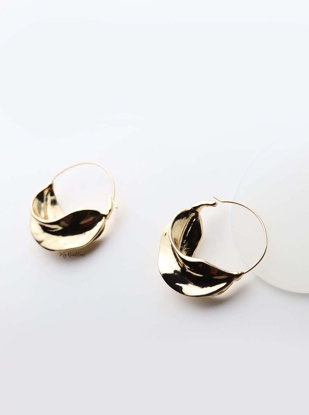 Alcippe- gold plated leaf-inspired hoop earrings - My Roial Ears LTD
