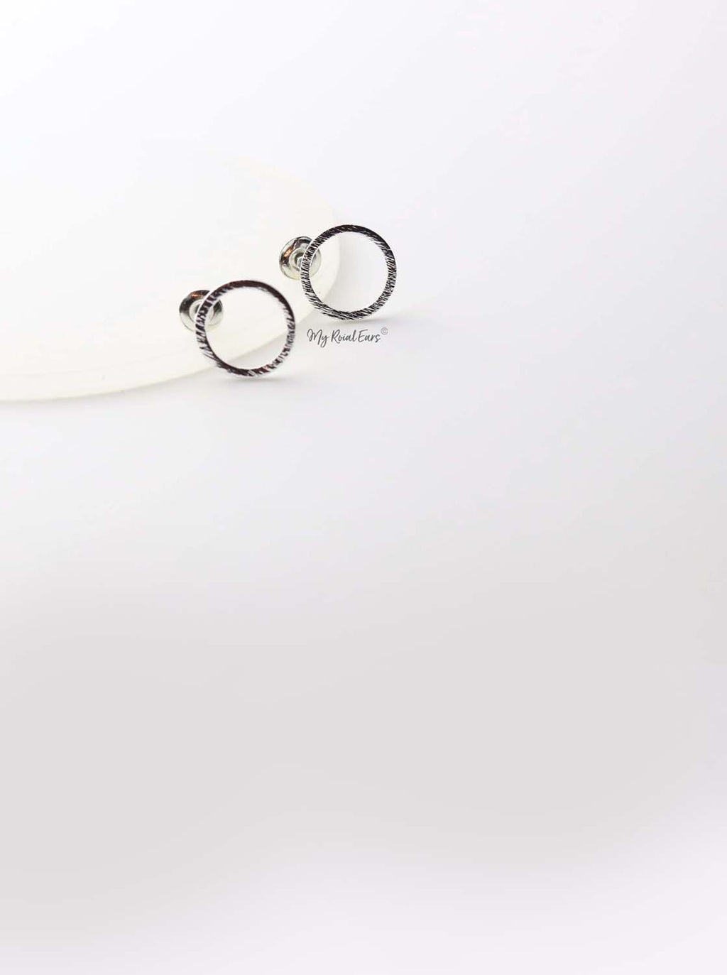Anthea Silver- round circle stud earrings - My Roial Ears LTD