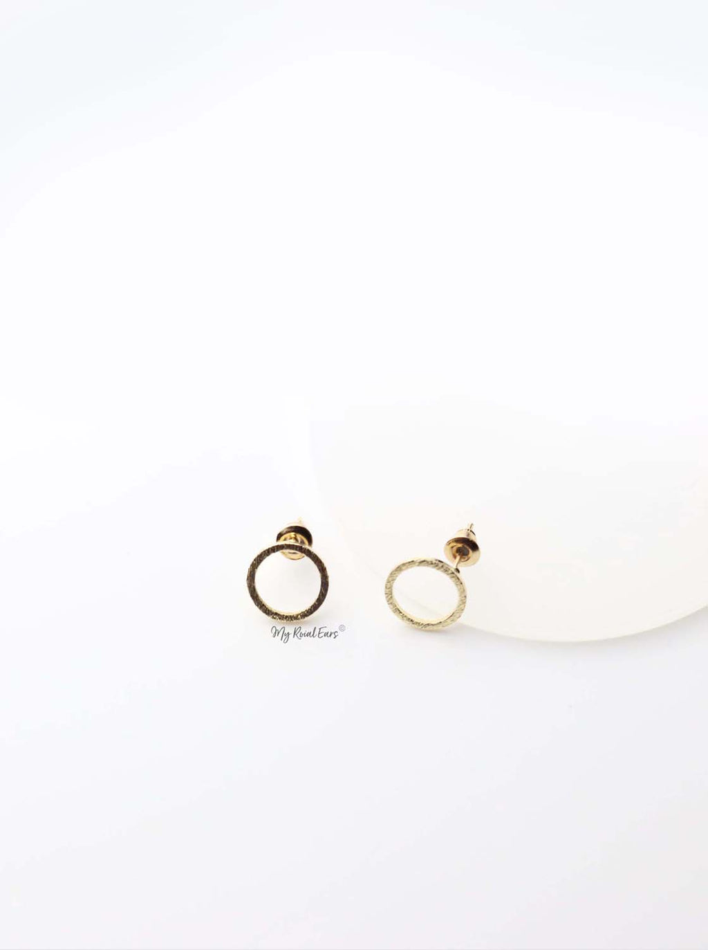 Anthea- gold plated round circle stud earrings - My Roial Ears LTD
