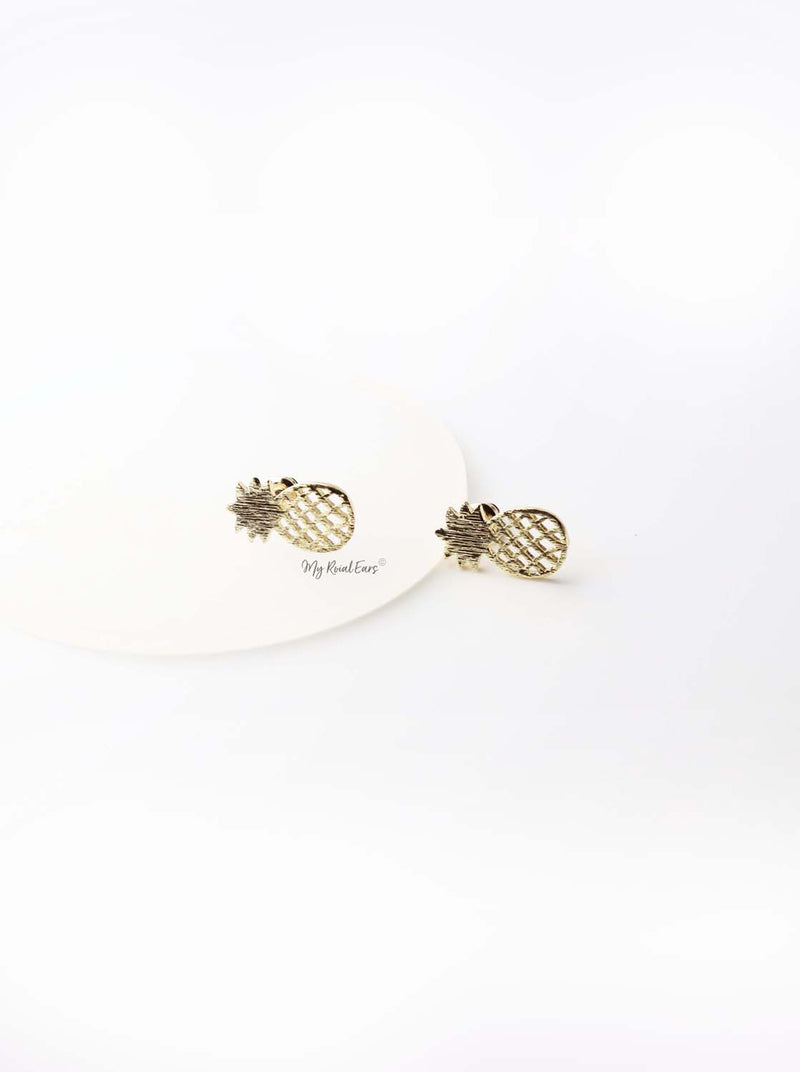 Aphrodite- gold plated brush pineapple studs - My Roial Ears LTD