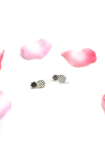 Aphrodite Silver- brush pineapple stud earrings