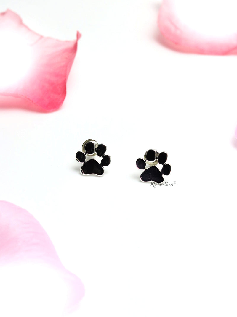 Briseis- gold plated cute dog paw stud earrings