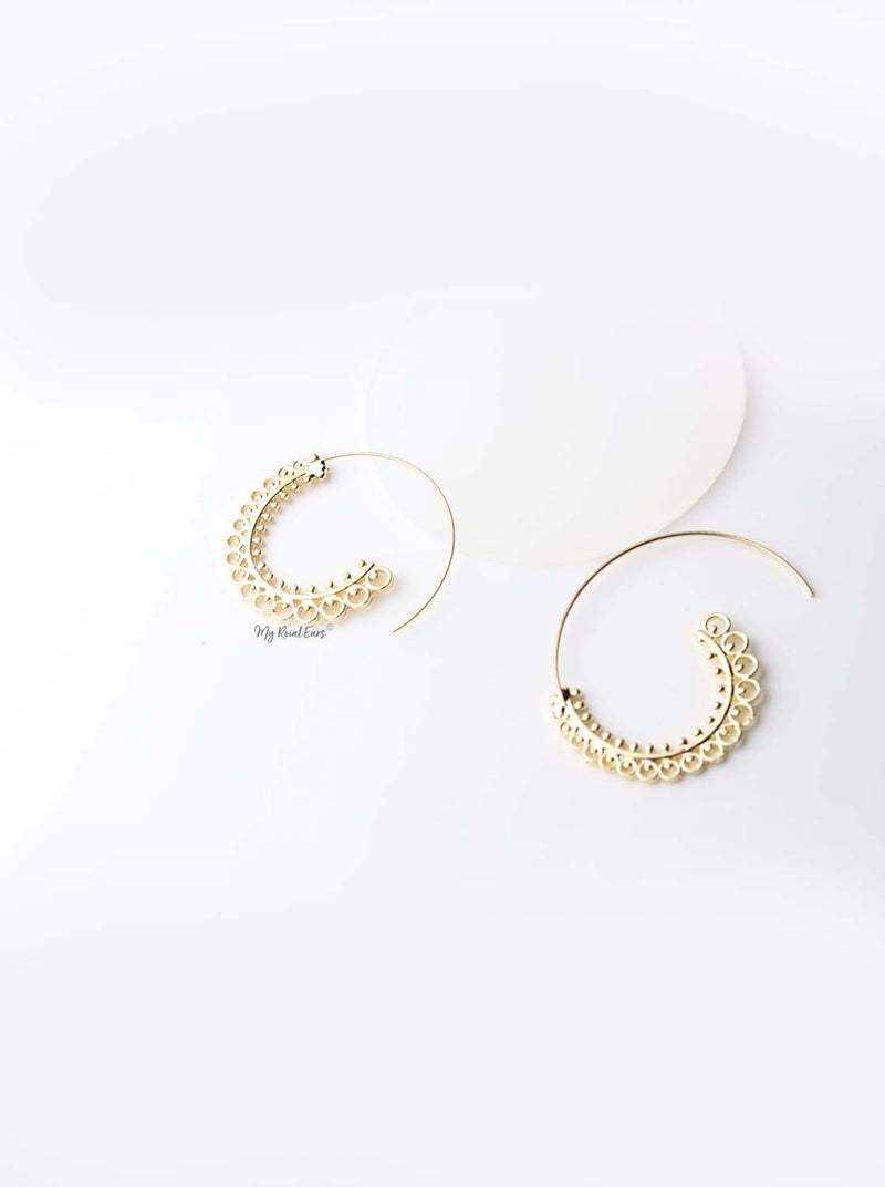 Erato- bohemian whirlpool pattern style hoop earrings - My Roial Ears LTD