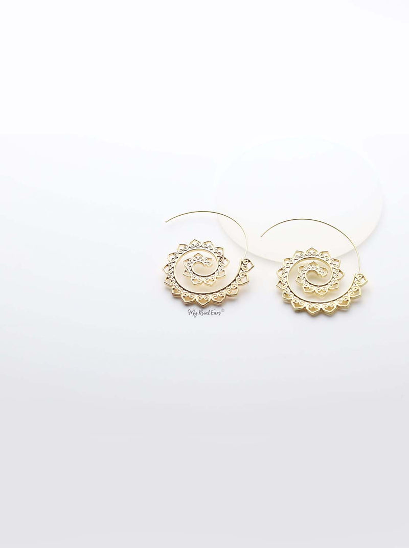Euphrosyne- gold plated paisley pattern spiral earrings - My Roial Ears LTD