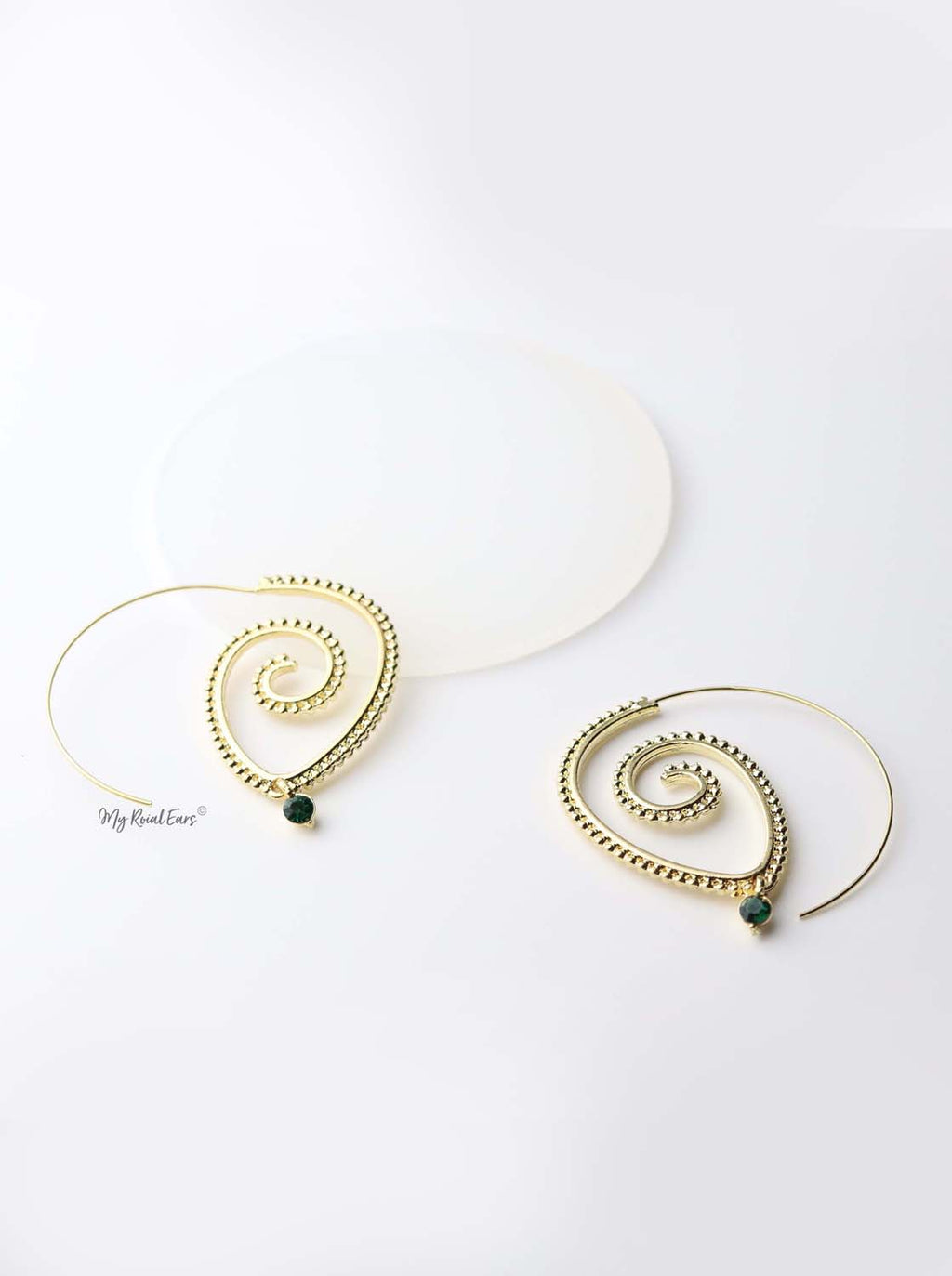 Europa: gold plated tribal brass, spiral drop earrings - My Roial Ears LTD