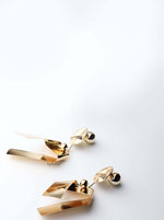 Hebe: gold plated geometric metal ball statement earringss - My Roial Ears LTD