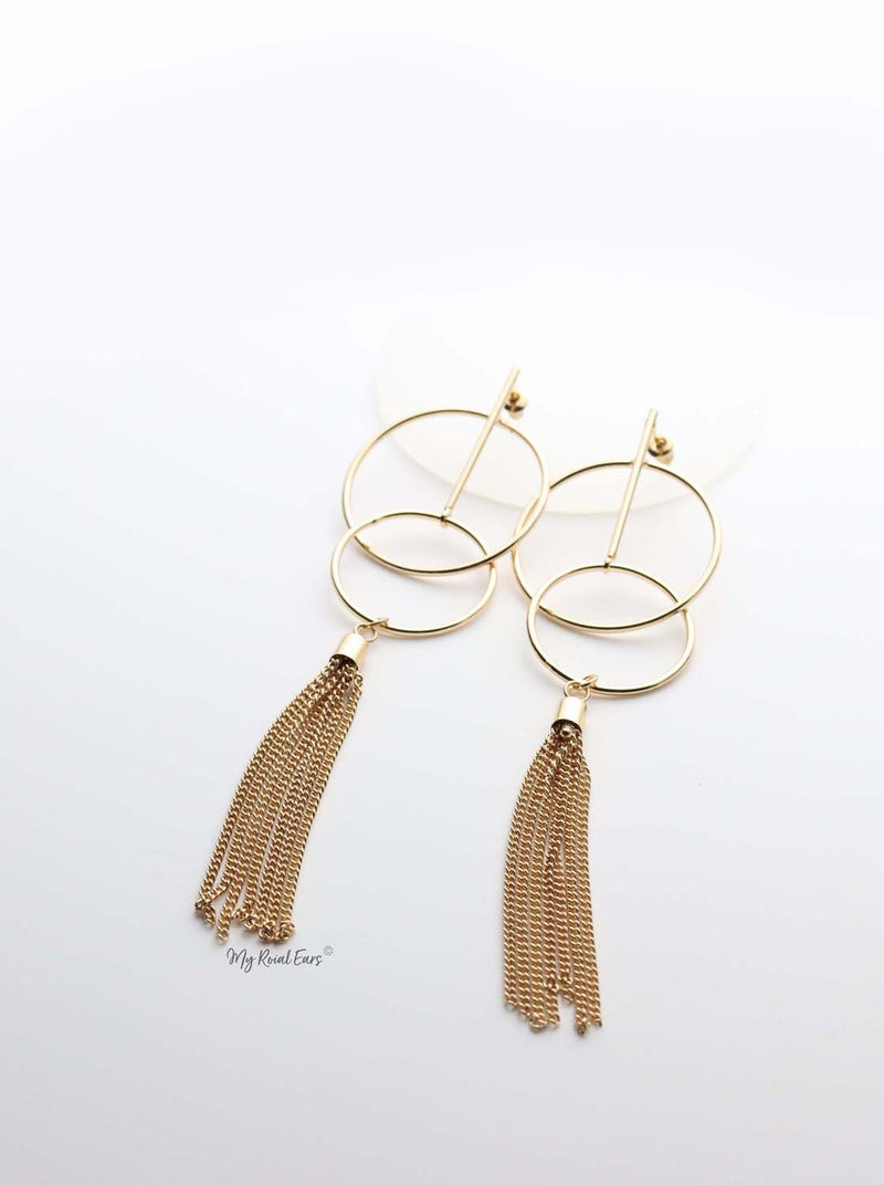 Rhea- gold plated tassel hoop earrings - My Roial Ears LTD
