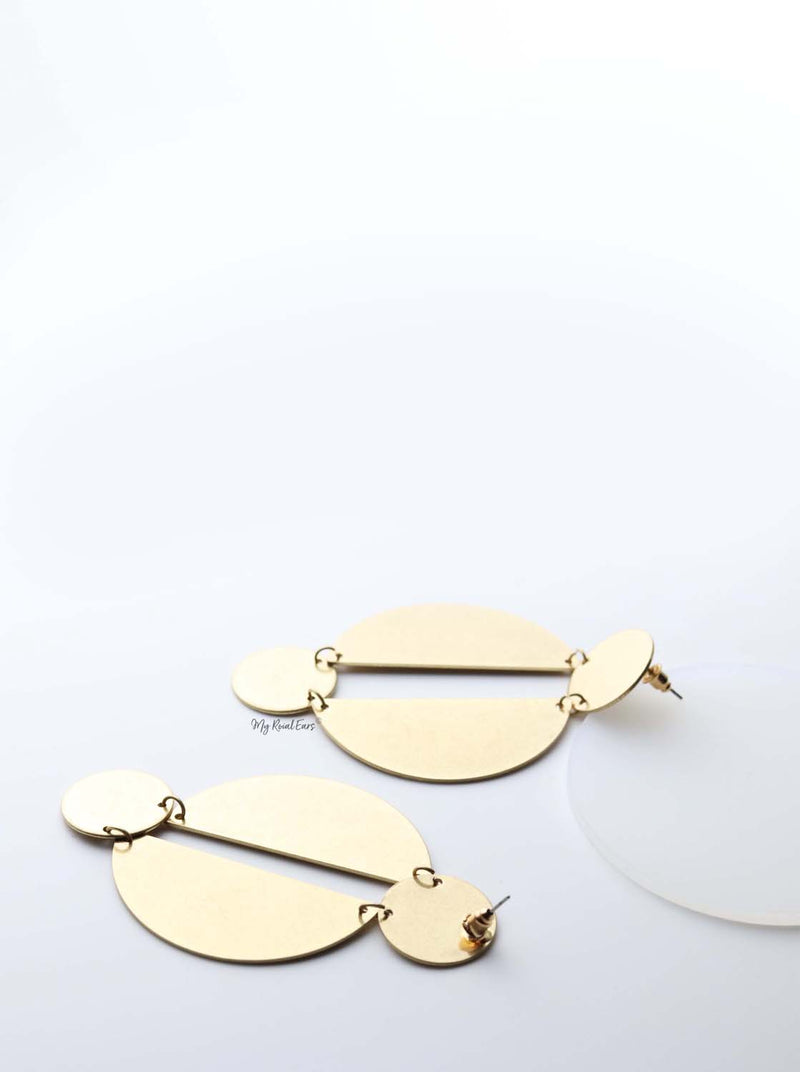 Hestia- gold plated geometric baroque inspired drop earrings - My Roial Ears LTD