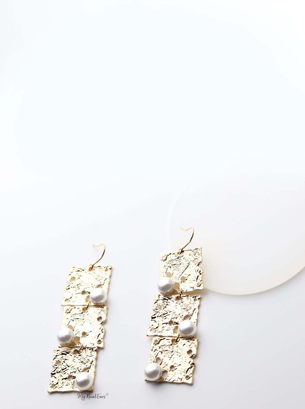 Ianthe: gold plated square and pearl embellished drop earrings - My Roial Ears LTD