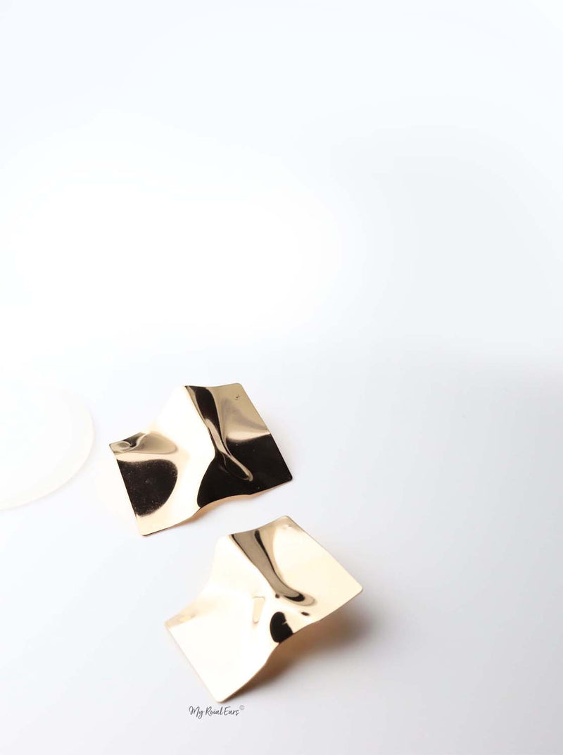 Andromeda- gold plated geometric statement stud earrings - My Roial Ears LTD