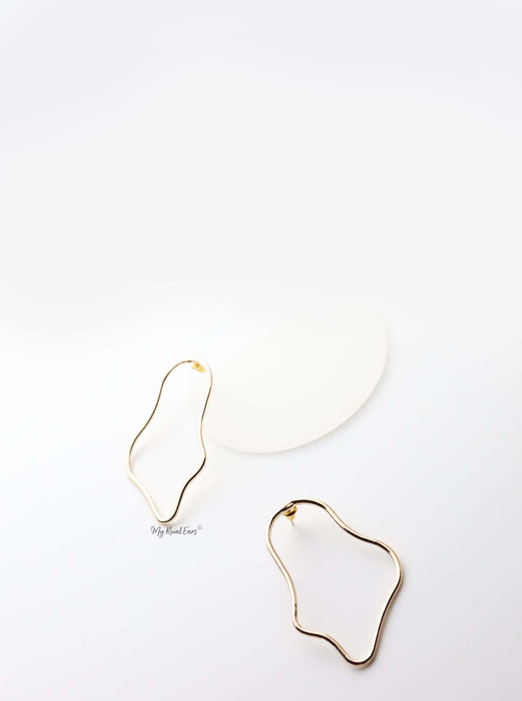 Jocasta- gold plated geometric abstract statement stud earrings - My Roial Ears LTD