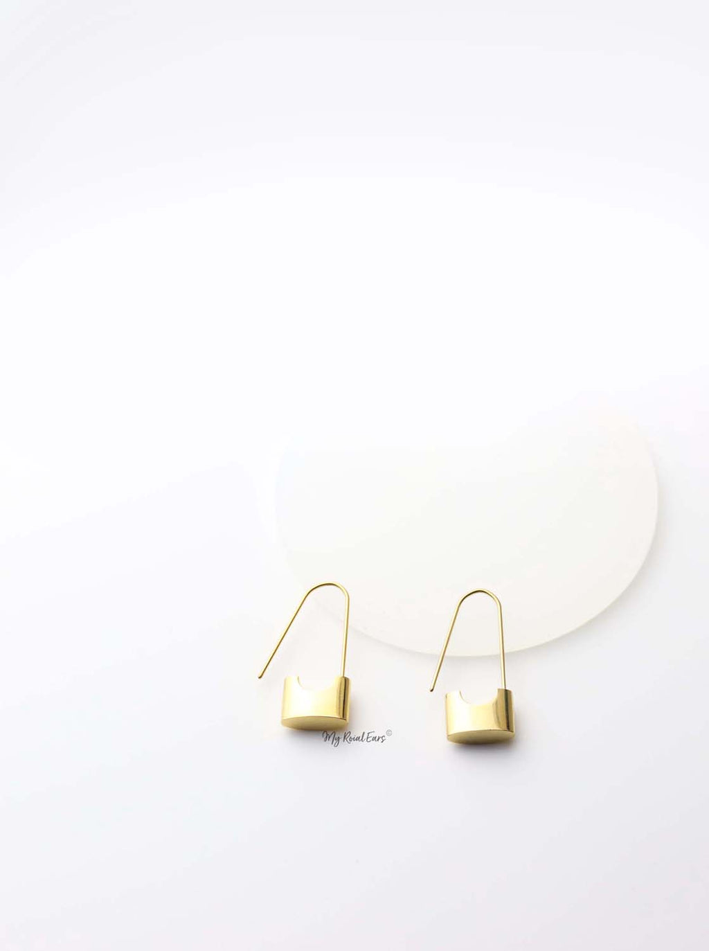 Lachesis- gold plated small lock drop earrings - My Roial Ears LTD