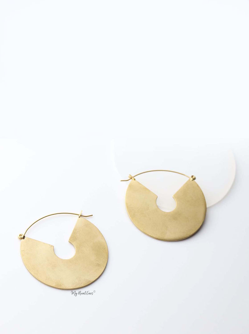 Larisa- matt gold plated vintage inspired u shape drop earrings - My Roial Ears LTD