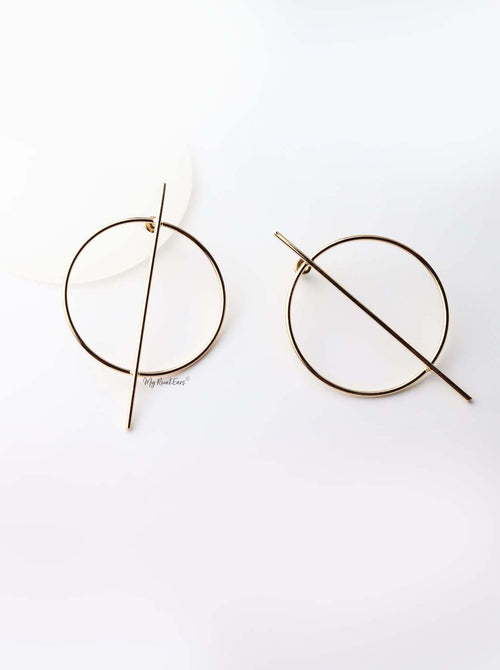 Melaina- gold plated circle statement stud earrings - My Roial Ears LTD