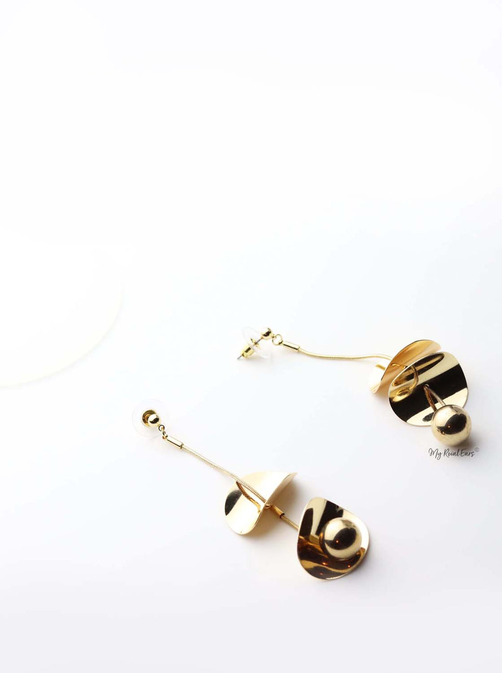 Melete- gold plated long ball drop earrings - My Roial Ears LTD