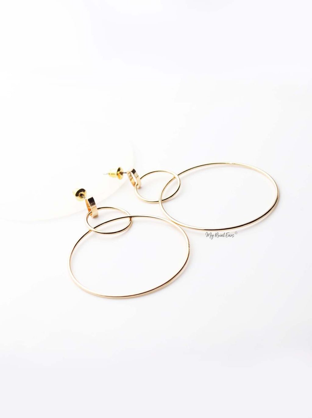 Penelope- gold plated thin hoops earrings - My Roial Ears LTD