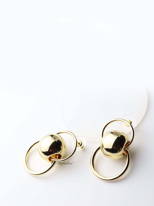 Nyx- gold plated ball hallow metal circle statement stud - My Roial Ears LTD