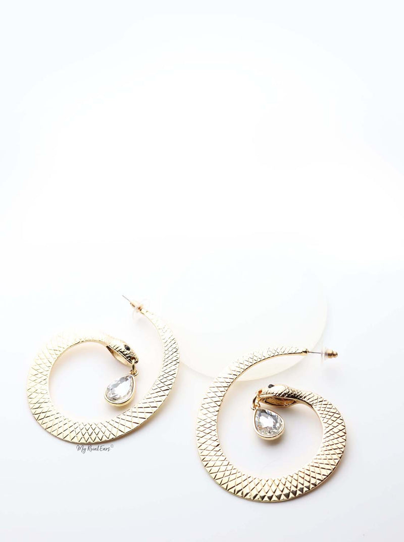 Cassandra H- gold plated snake shaped crystal drop earrings - My Roial Ears LTD