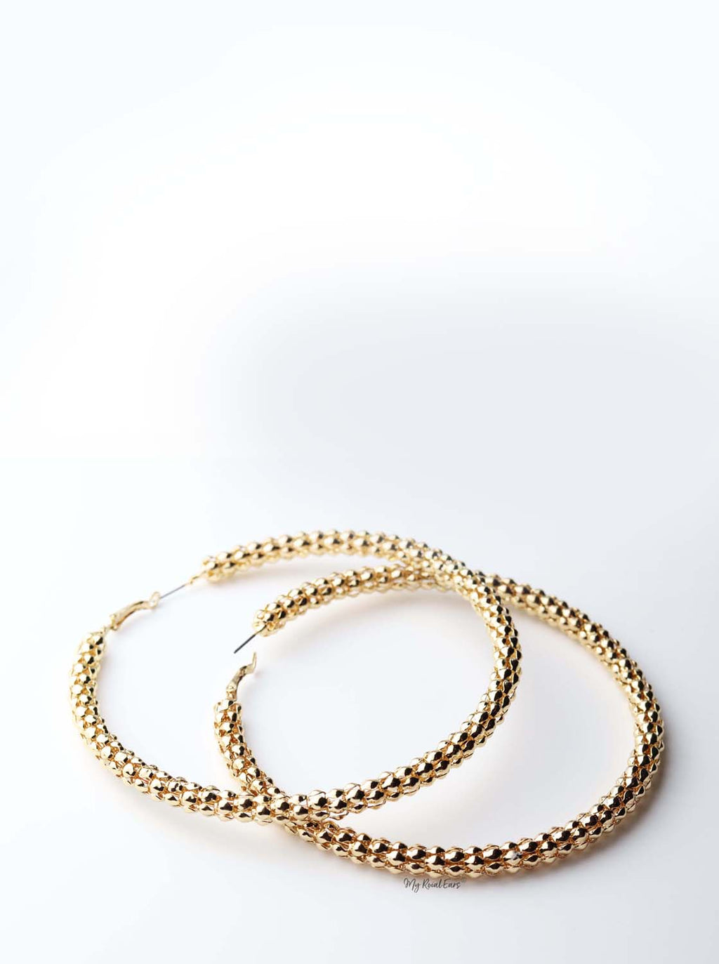 Phaedra Hoop- gold plated statement detailed metal hoop earrings - My Roial Ears LTD