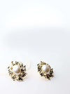 Phaenna- gold plated big pearl classy stud earrings - My Roial Ears LTD