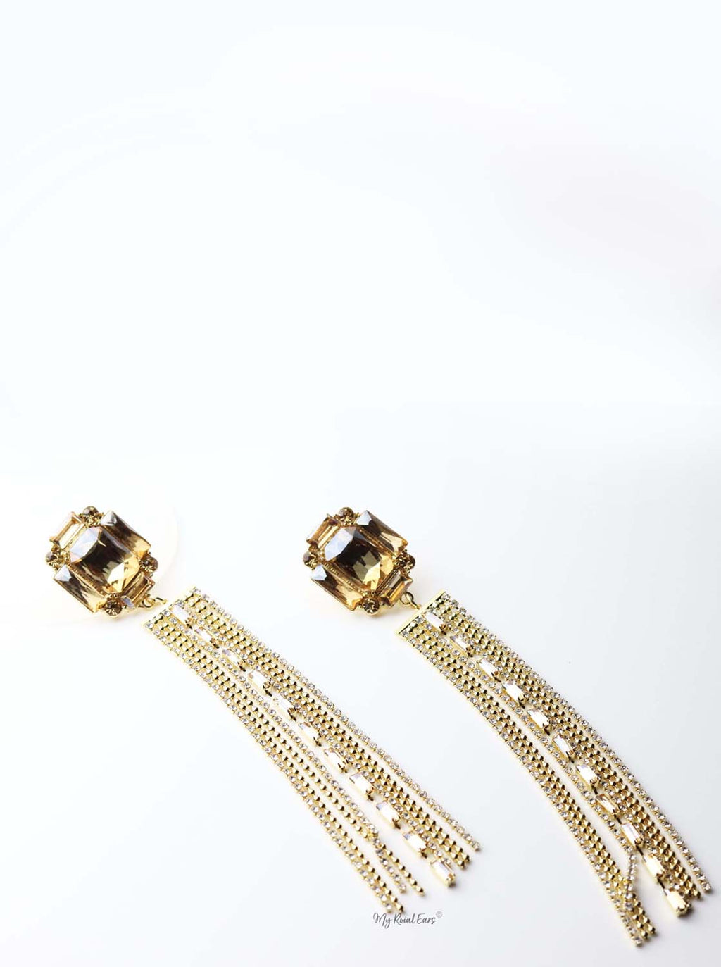 Tisiphone-gold plated extravagant tassel drop earrings - My Roial Ears LTD