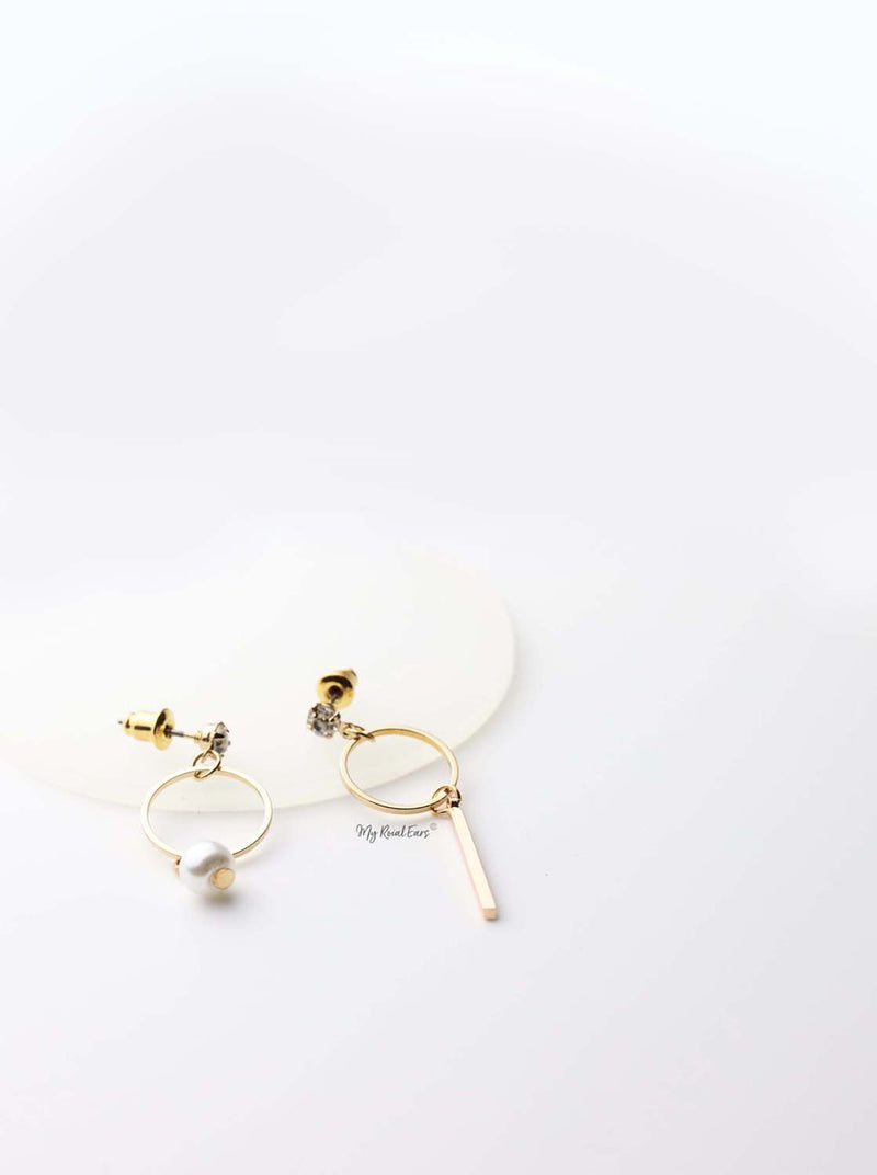 Tethys-gold plated opposite contrasting cute hoop drop earrings - My Roial Ears LTD