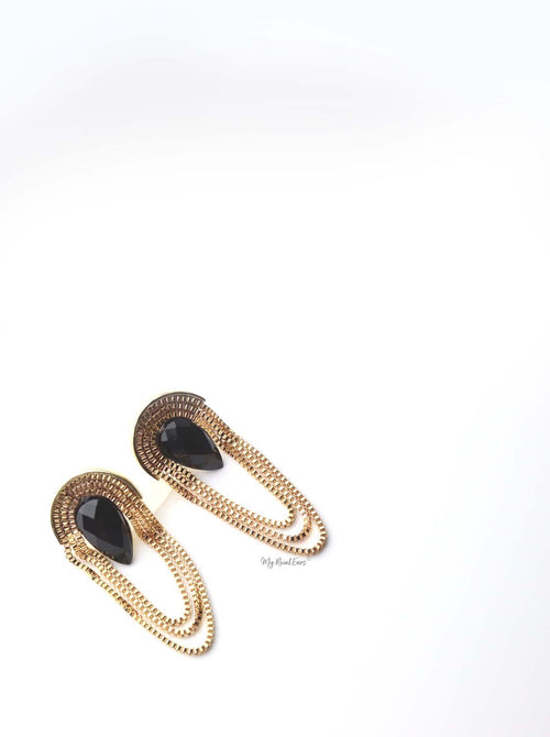Antheia- gold chandelier tassel statement stud earrings - My Roial Ears LTD
