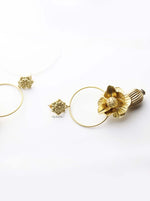 Iris- gold plated 3d floral hoop drop earrings - My Roial Ears LTD