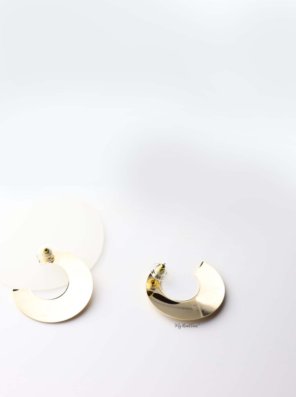 Bia- gold plated half mood statement stud earrings - My Roial Ears LTD