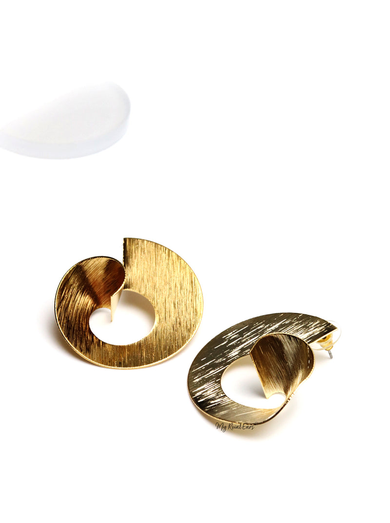ATHENA- gold plated spiral copper shape statement stud earrings