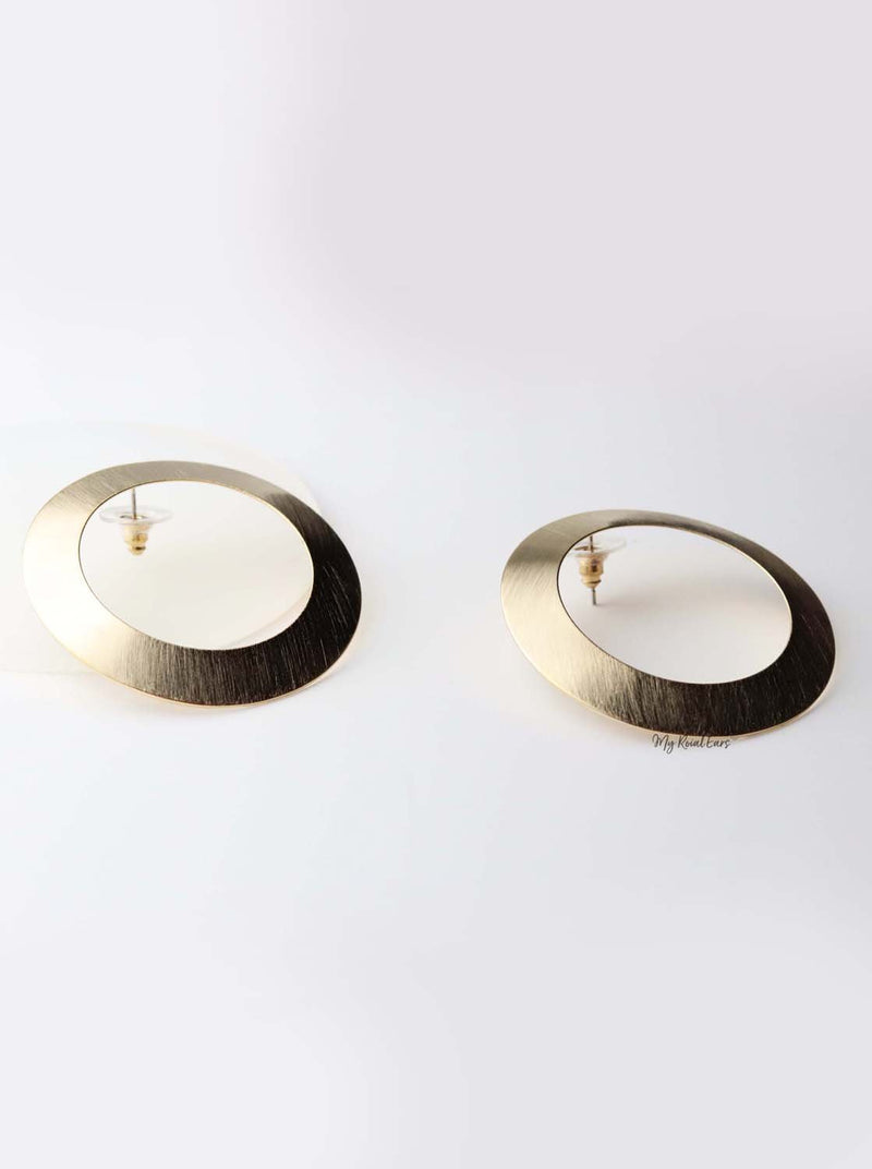 Calliope- gold plated circle statement stud - My Roial Ears LTD