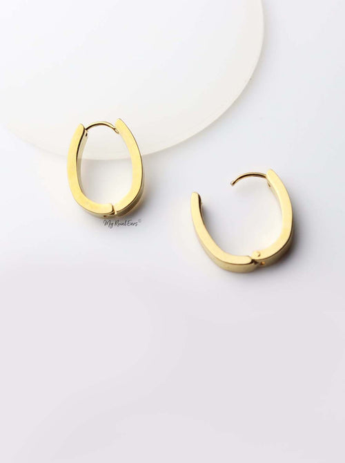 Iris- gold plated small u shape quality drop earrings - My Roial Ears LTD