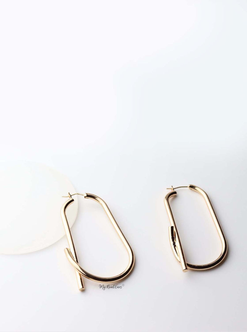 Maia- gold plated abstract hoop drop earrings - My Roial Ears LTD