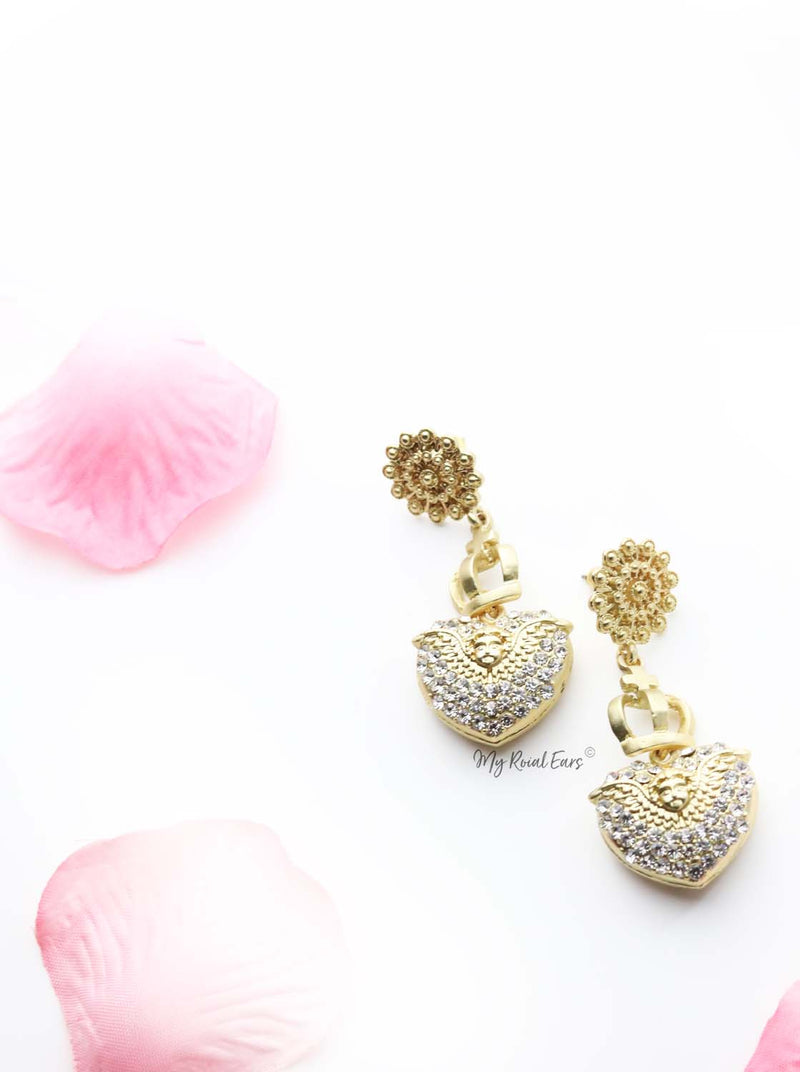Helen- baroque-inspired gold drop earrings - My Roial Ears LTD