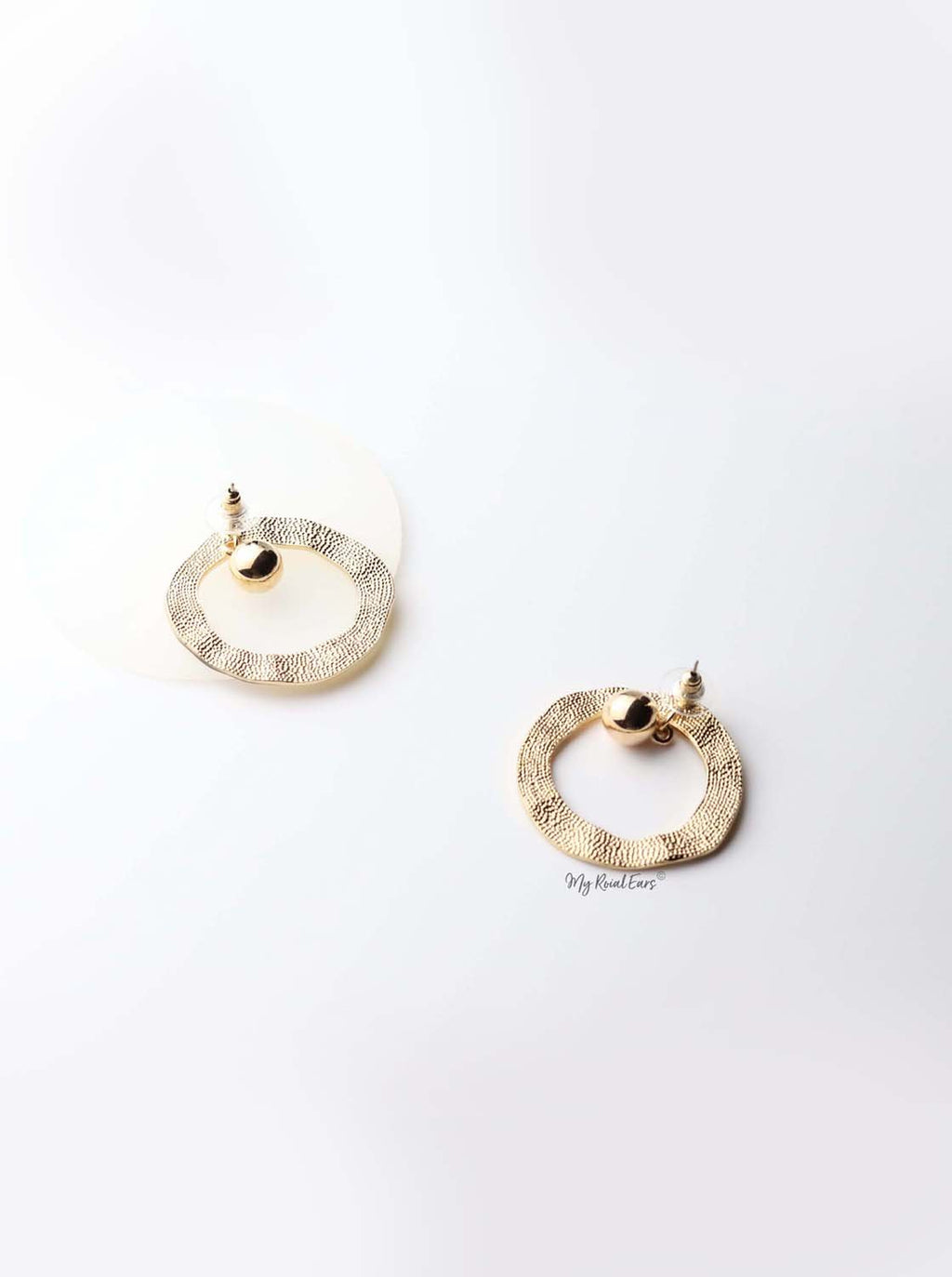 Merope- gold plated oval small dangling ball statement earrings - My Roial Ears LTD