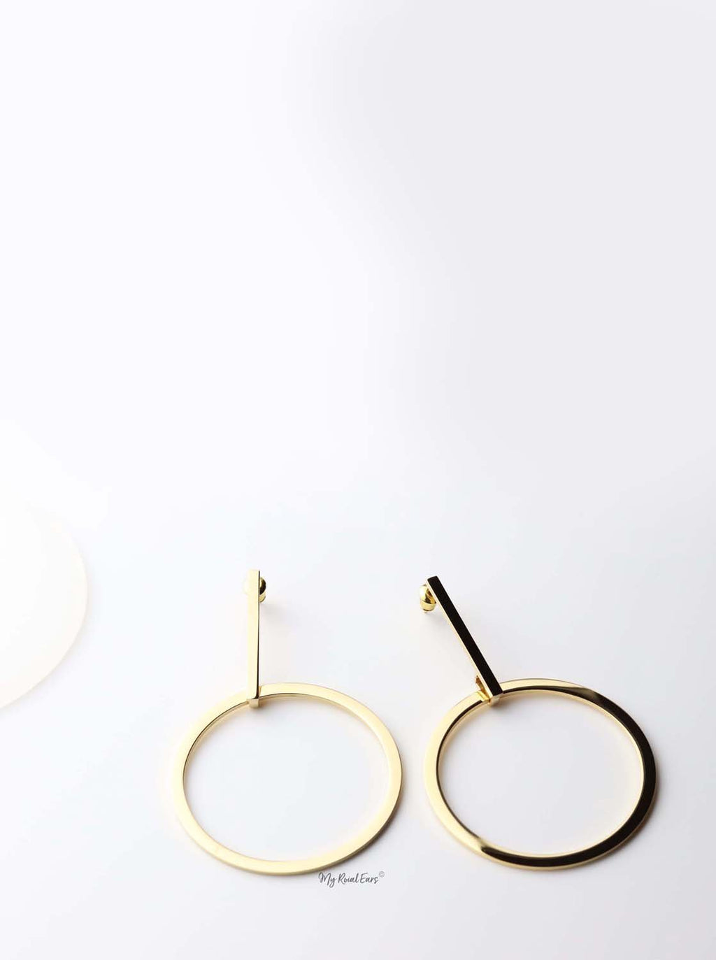 Peitho- gold plated long oval drop earrings - My Roial Ears LTD