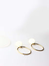 Semele- gold plated graceful oval stud drop hoop earrings - My Roial Ears LTD