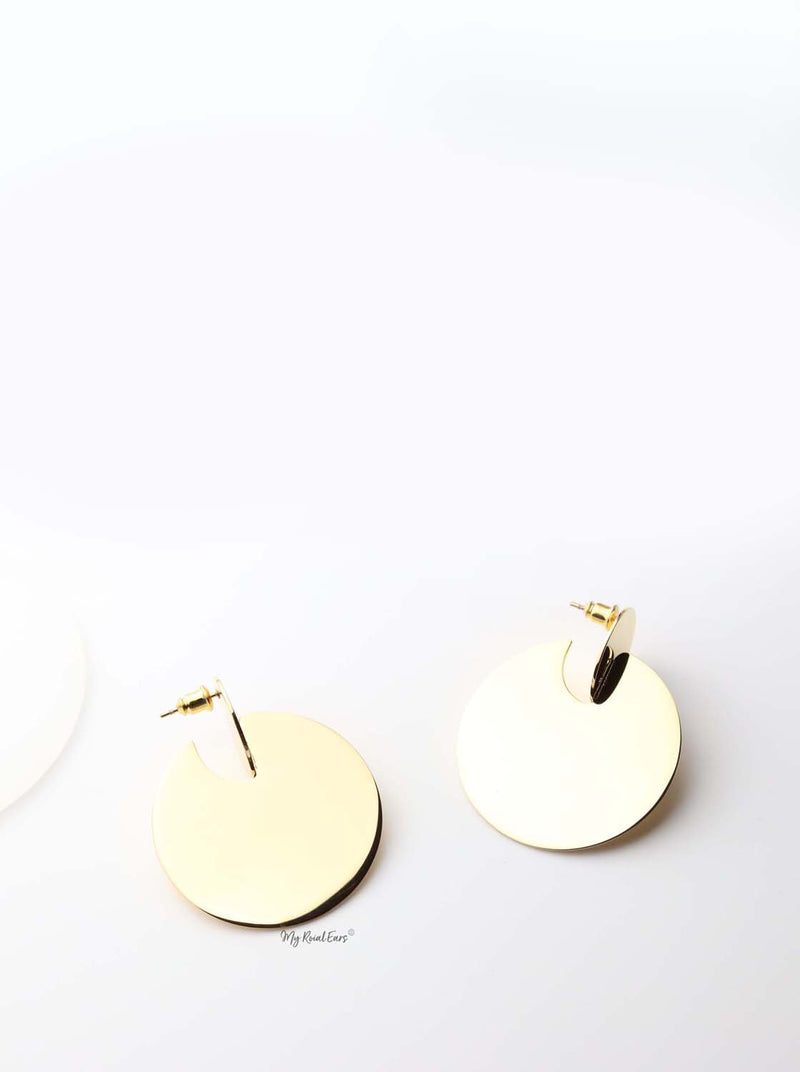 Tyche- gold plated stunning abstract design drop earrings - My Roial Ears LTD