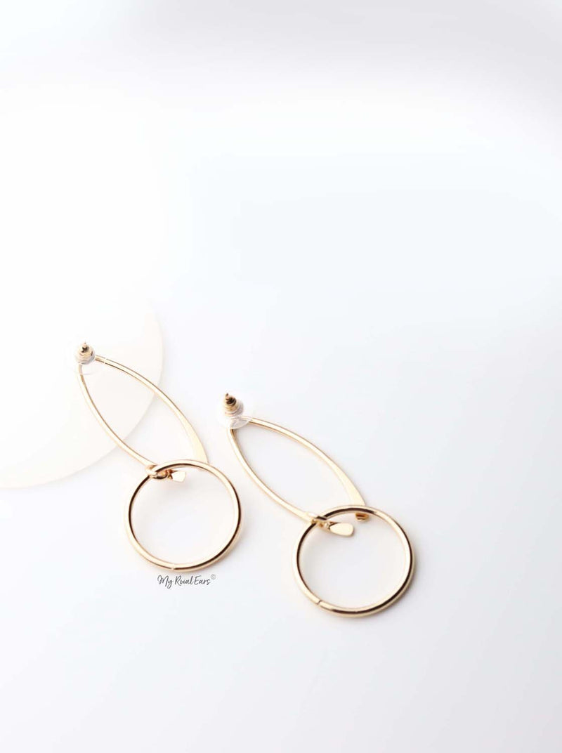 Eulalia- impressive gold plated dangling shapes drop earrings - My Roial Ears LTD