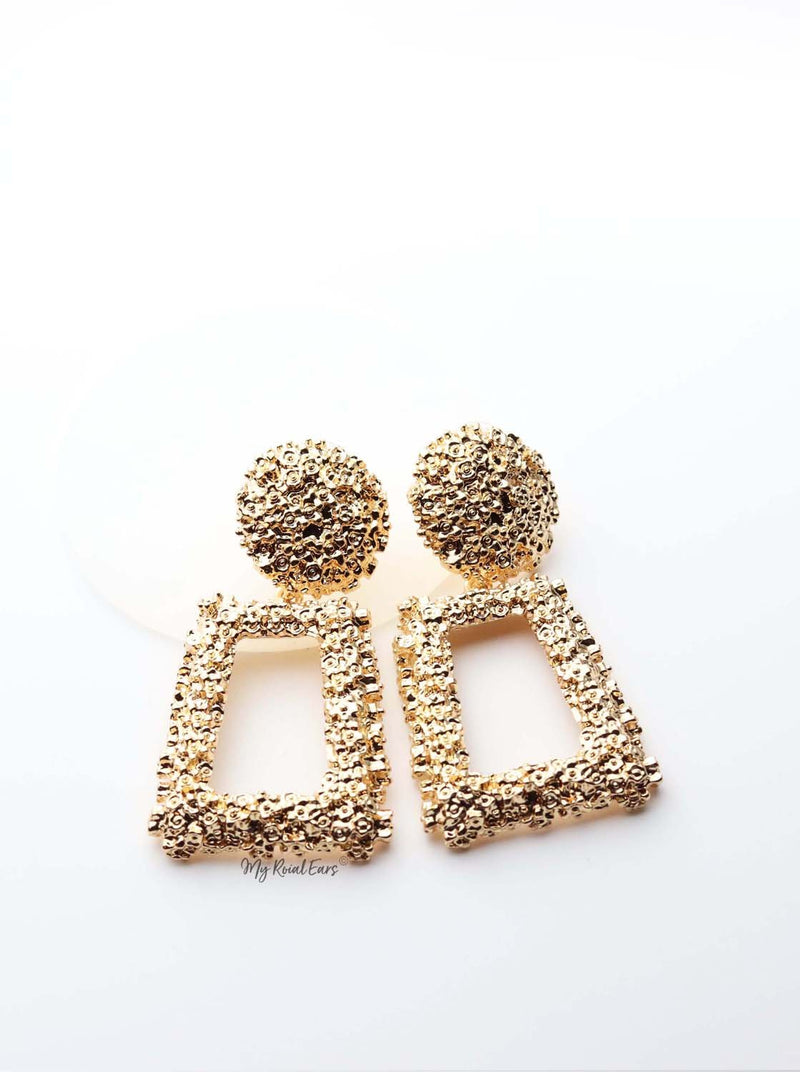 Brizo Silver- trendy statement gold drop earrings - My Roial Ears LTD