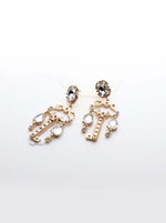 Hera- gold plated key crystal earrings - My Roial Ears LTD