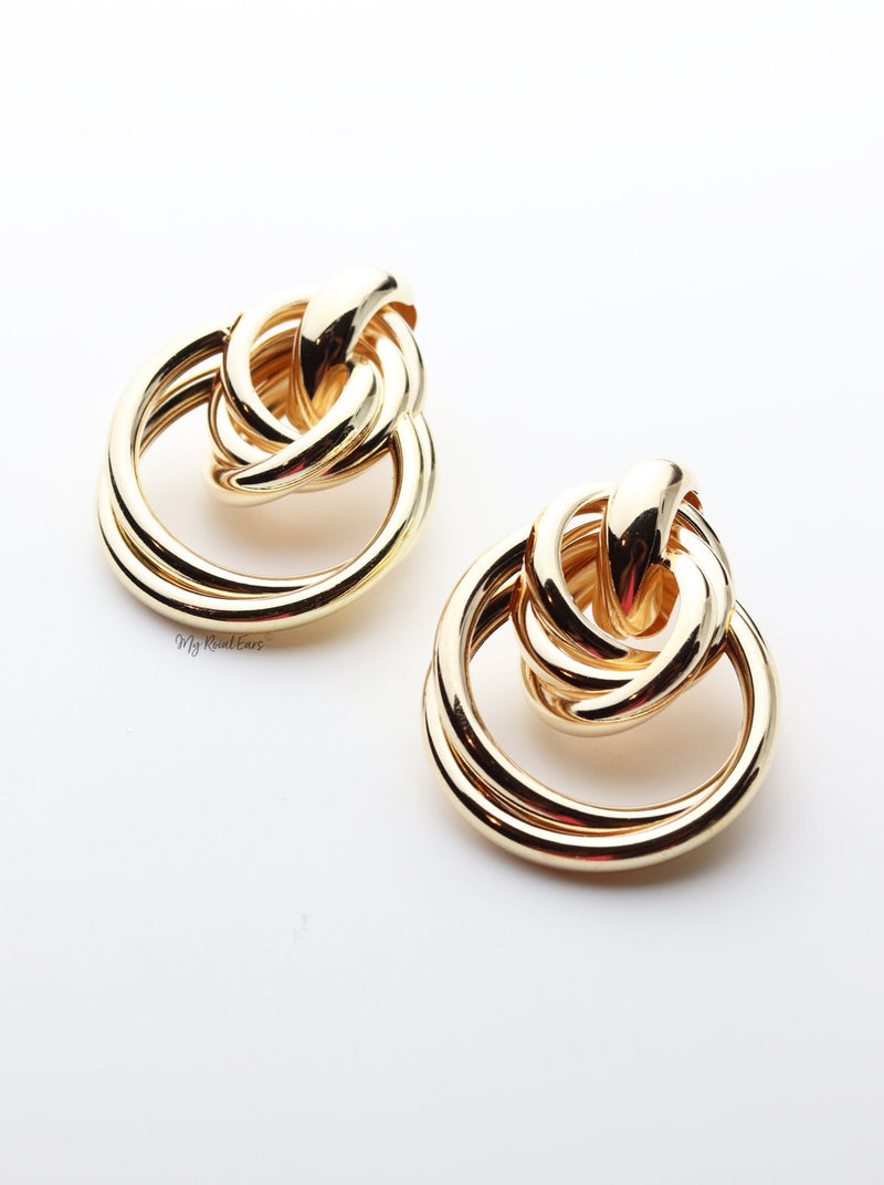 Bartlett-interlock statement stud design gold earrings - My Roial Ears LTD